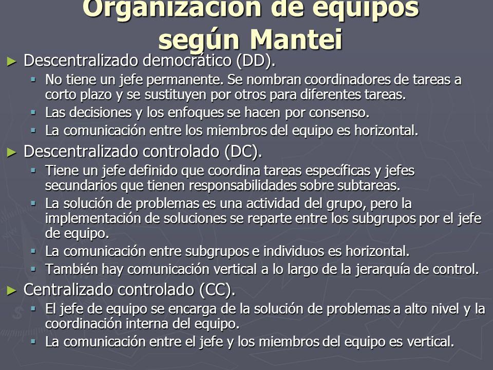 Organización de equipos según Mantei