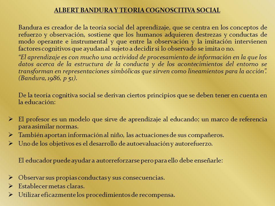 ALBERT BANDURA Y TEORIA COGNOSCITIVA SOCIAL