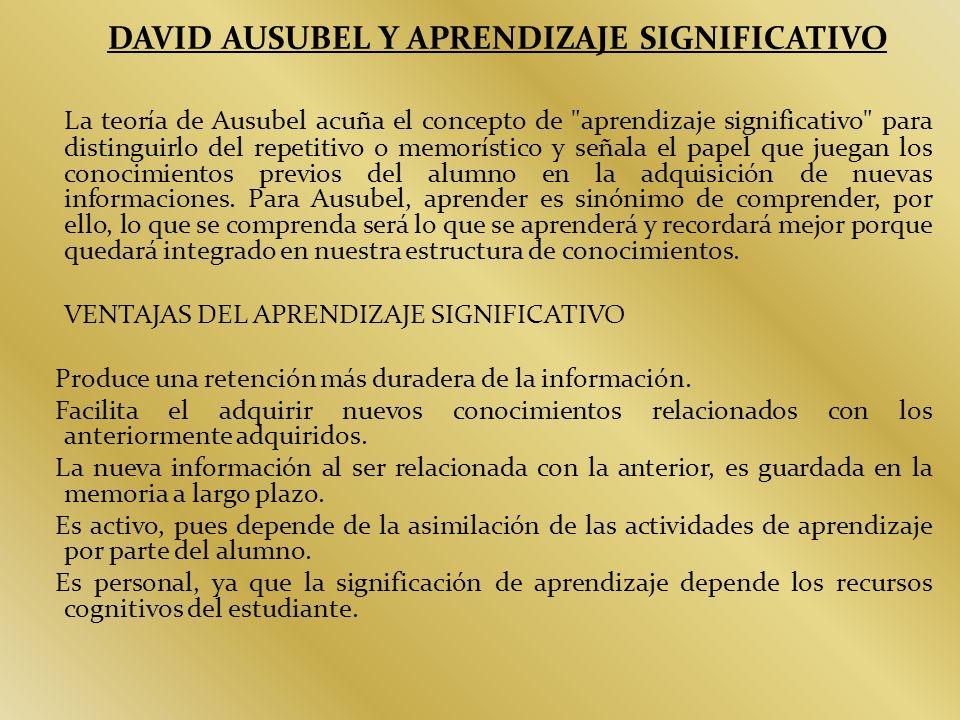 DAVID AUSUBEL Y APRENDIZAJE SIGNIFICATIVO