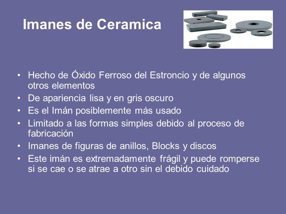 Imanes de Ceramica Hecho de Óxido Ferroso del Estroncio y de algunos otros elementos. De apariencia lisa y en gris oscuro.