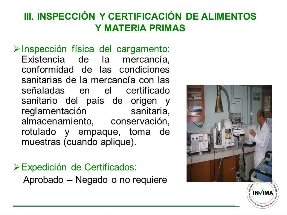 III. INSPECCIÓN Y CERTIFICACIÓN DE ALIMENTOS Y MATERIA PRIMAS