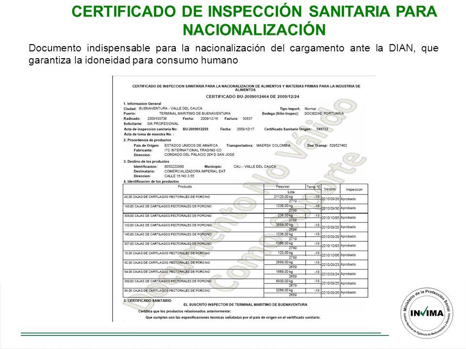 CERTIFICADO DE INSPECCIÓN SANITARIA PARA NACIONALIZACIÓN