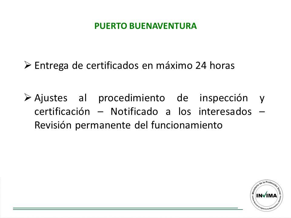 Entrega de certificados en máximo 24 horas