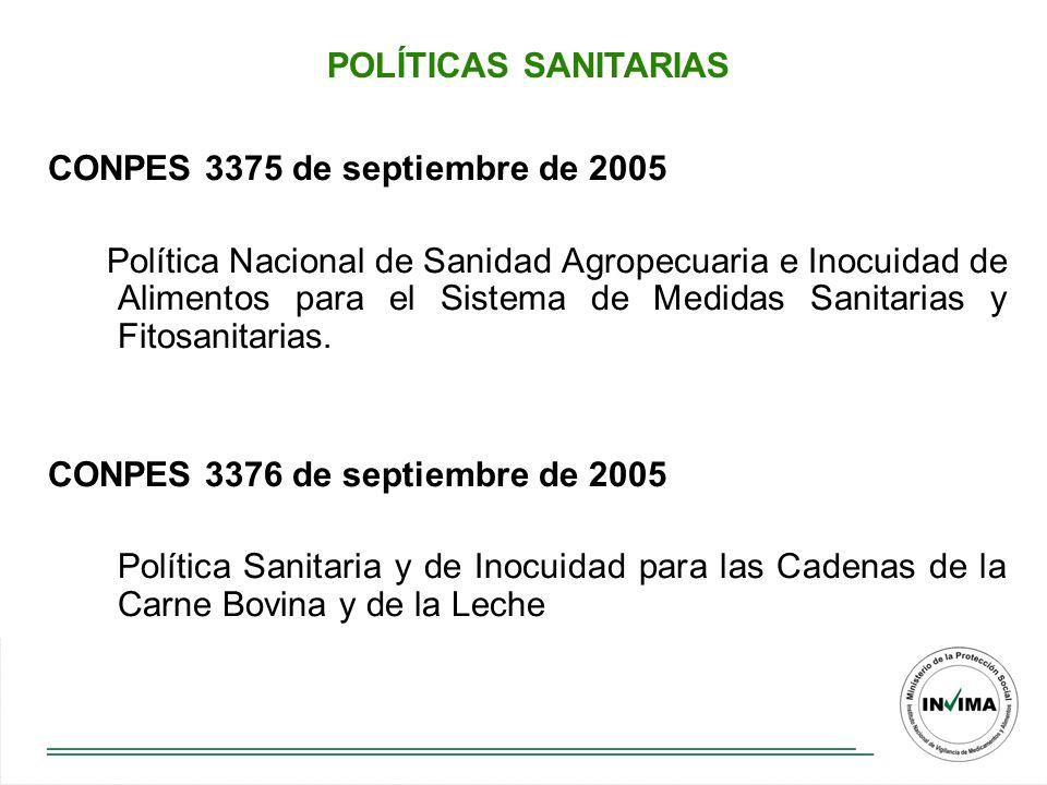POLÍTICAS SANITARIAS CONPES 3375 de septiembre de 2005