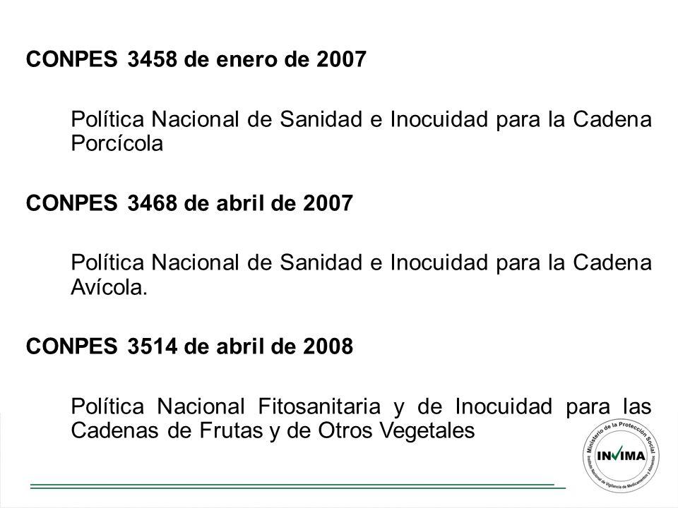 CONPES 3458 de enero de 2007 Política Nacional de Sanidad e Inocuidad para la Cadena Porcícola. CONPES 3468 de abril de 2007.