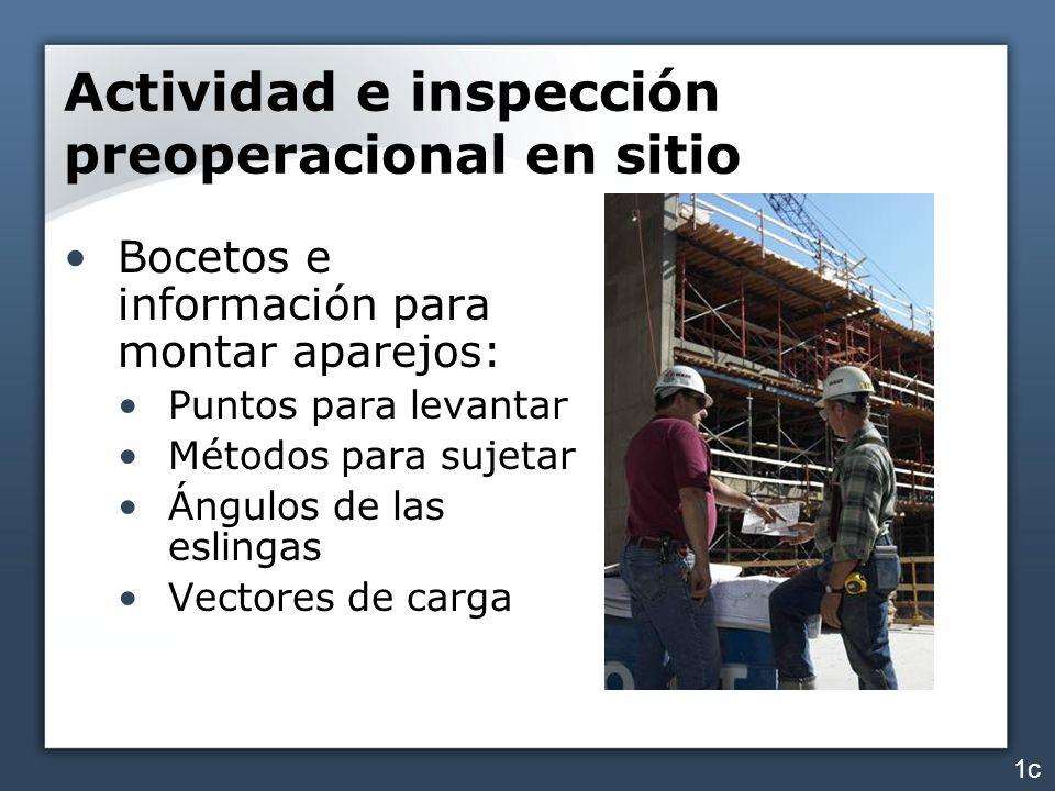 Actividad e inspección preoperacional en sitio