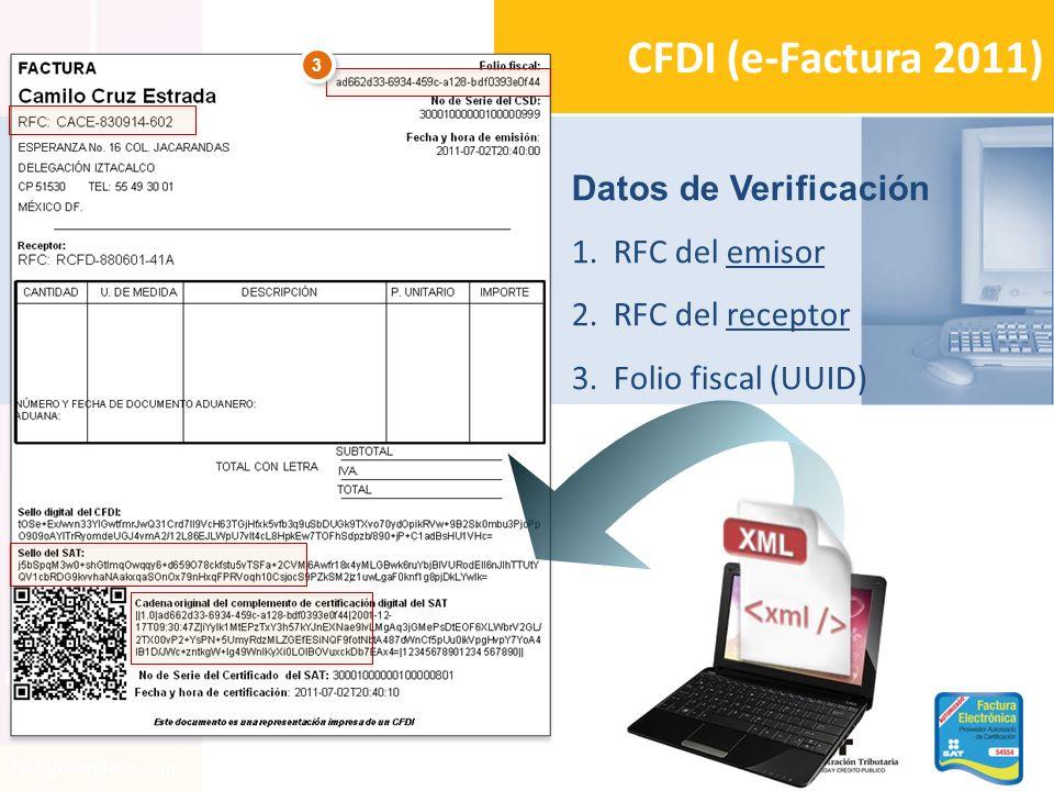 CFDI (e-Factura 2011) Datos de Verificación RFC del emisor