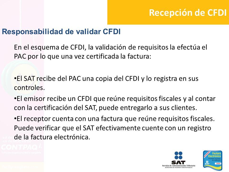 Recepción de CFDI Responsabilidad de validar CFDI