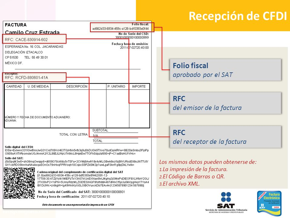 Recepción de CFDI Folio fiscal RFC RFC aprobado por el SAT