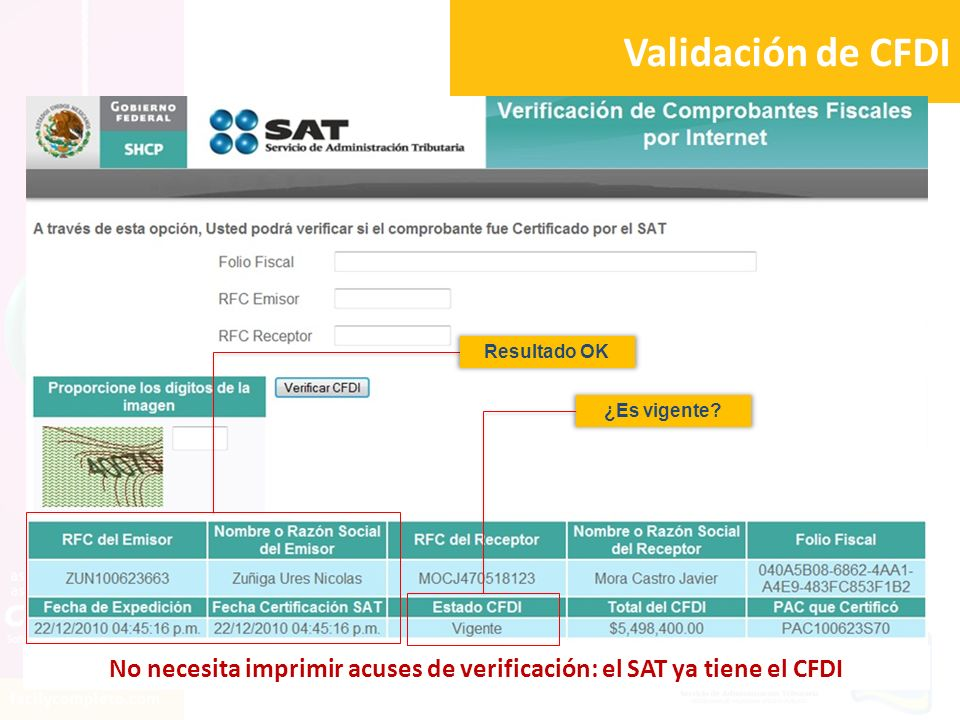 No necesita imprimir acuses de verificación: el SAT ya tiene el CFDI