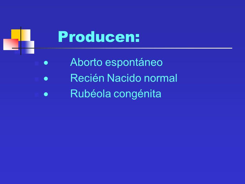 Producen: · Aborto espontáneo · Recién Nacido normal
