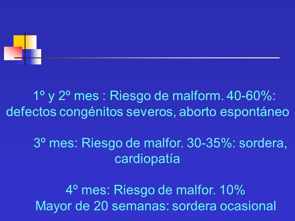 3º mes: Riesgo de malfor. 30-35%: sordera, cardiopatía