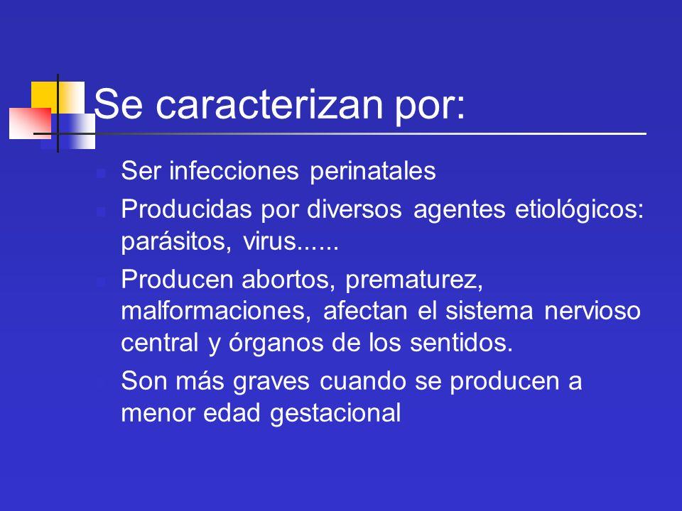 Se caracterizan por: Ser infecciones perinatales