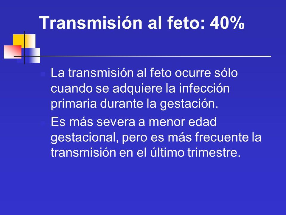 Transmisión al feto: 40%La transmisión al feto ocurre sólo cuando se adquiere la infección primaria durante la gestación.