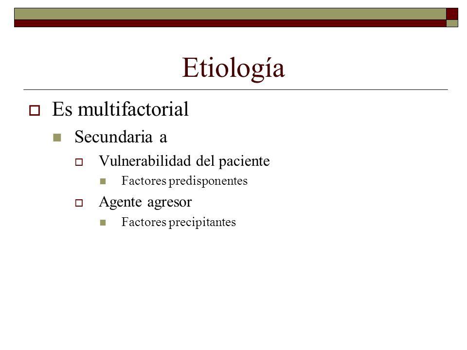 Etiología Es multifactorial Secundaria a Vulnerabilidad del paciente
