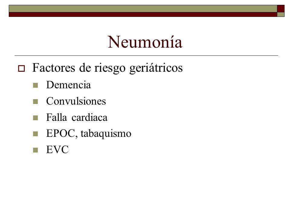 Neumonía Factores de riesgo geriátricos Demencia Convulsiones