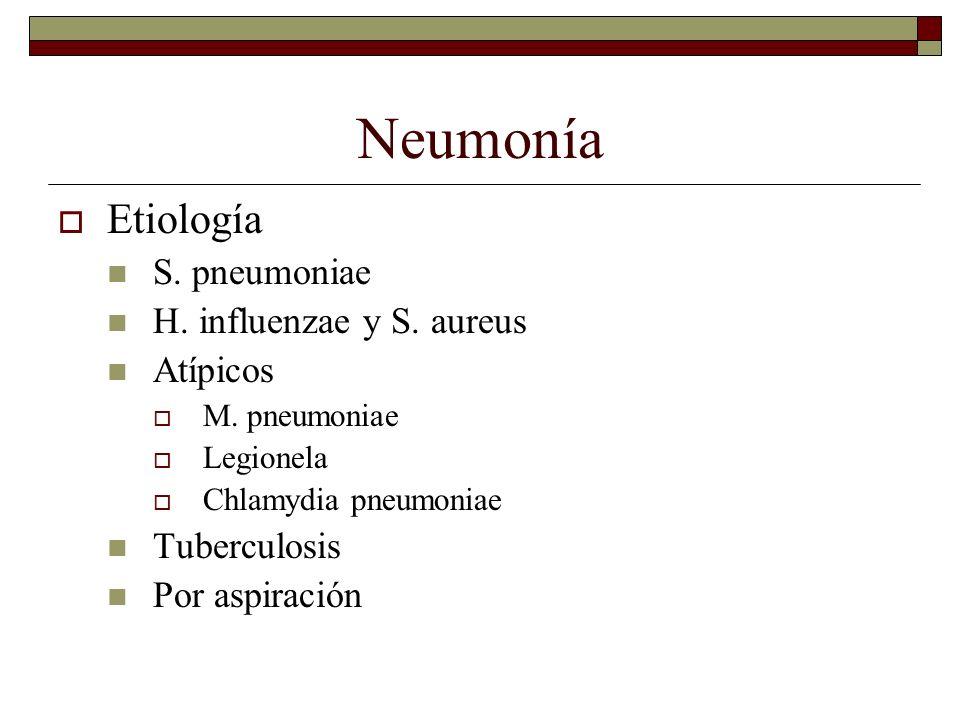 Neumonía Etiología S. pneumoniae H. influenzae y S. aureus Atípicos