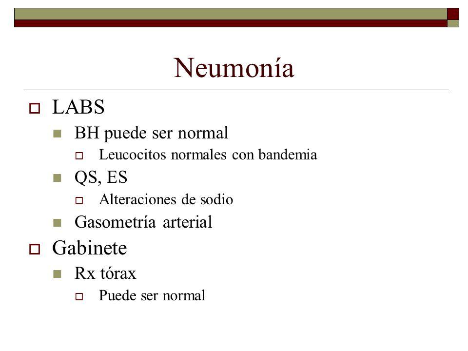 Neumonía LABS Gabinete BH puede ser normal QS, ES Gasometría arterial