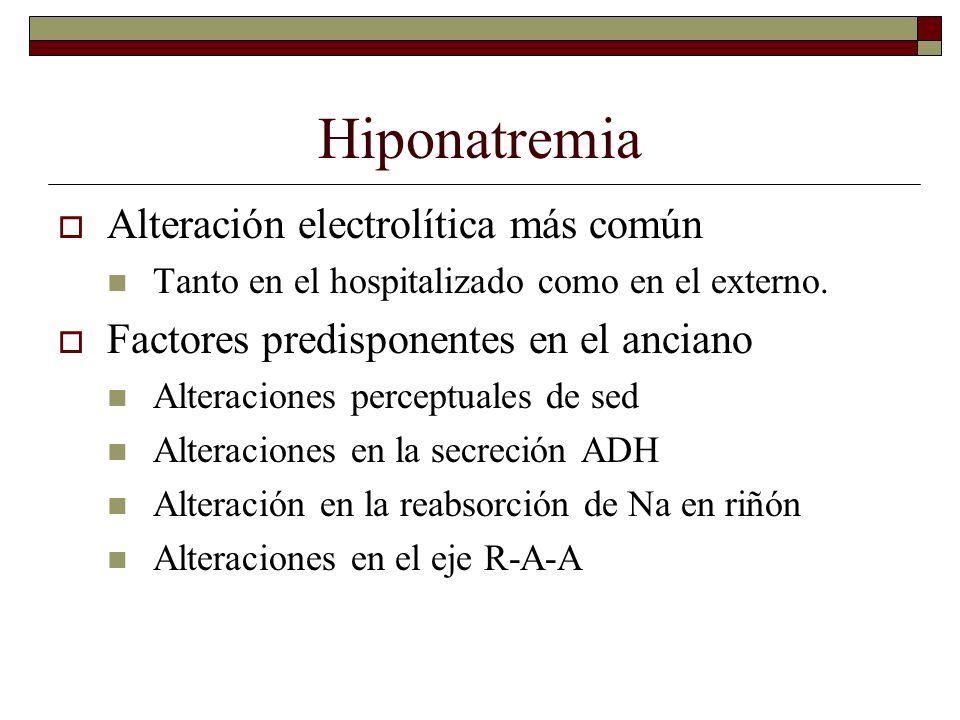 Hiponatremia Alteración electrolítica más común