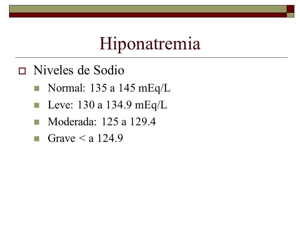Hiponatremia Niveles de Sodio Normal: 135 a 145 mEq/L