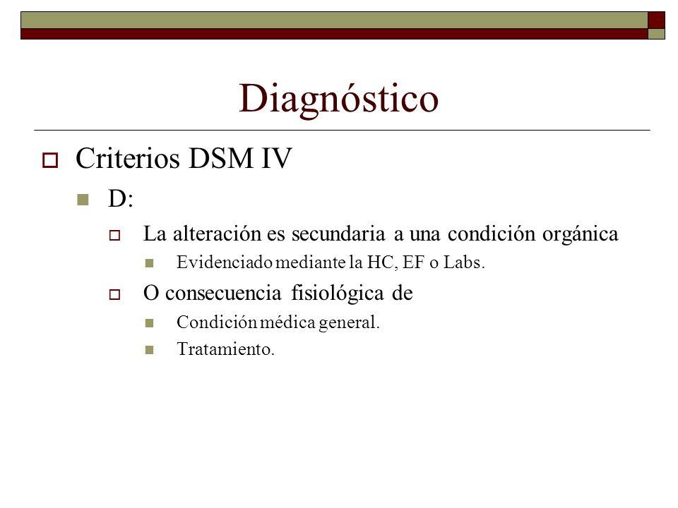 Diagnóstico Criterios DSM IV D: