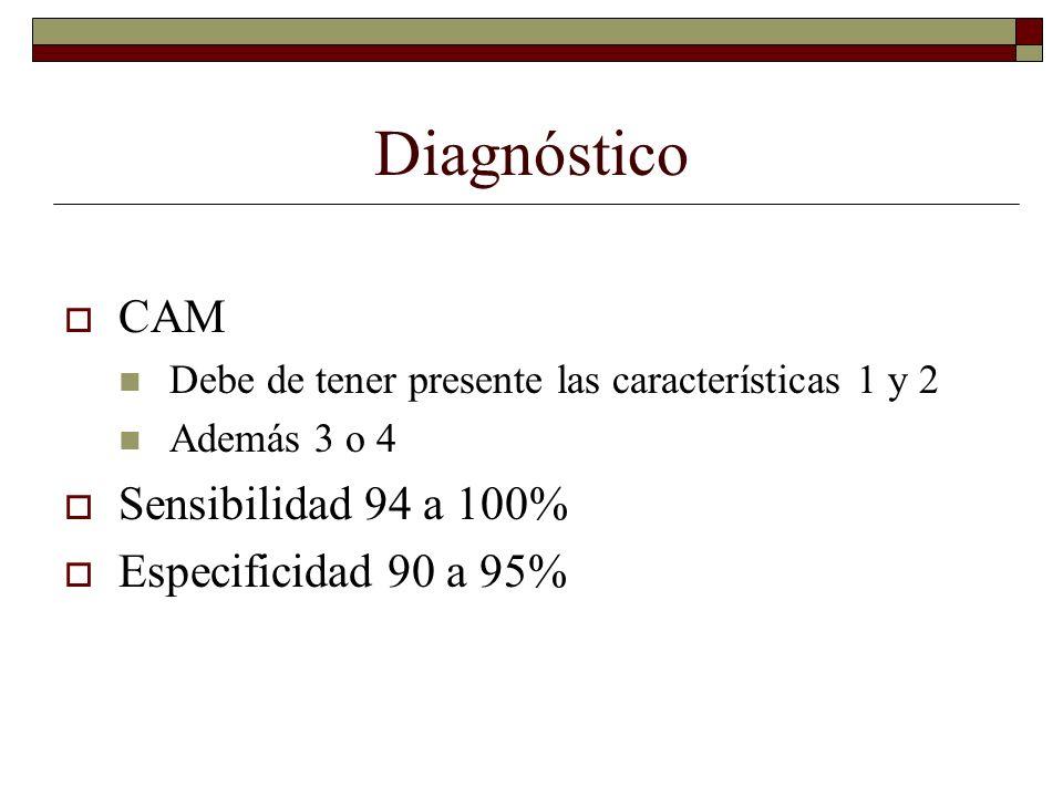 Diagnóstico CAM Sensibilidad 94 a 100% Especificidad 90 a 95%