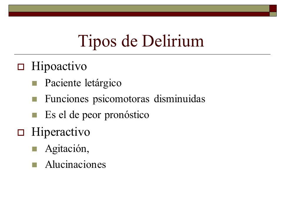 Tipos de Delirium Hipoactivo Hiperactivo Paciente letárgico