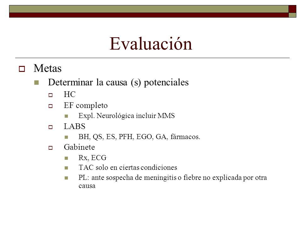 Evaluación Metas Determinar la causa (s) potenciales HC EF completo
