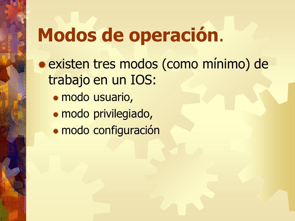 Modos de operación.existen tres modos (como mínimo) de trabajo en un IOS: modo usuario, modo privilegiado,
