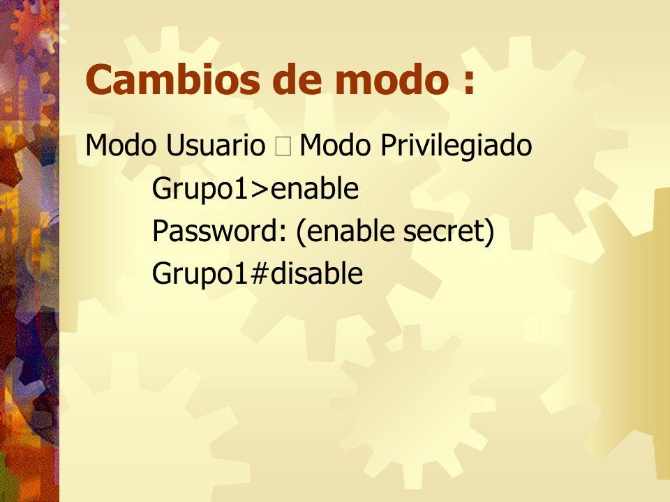 Cambios de modo : Modo Usuario Û Modo Privilegiado Grupo1>enable