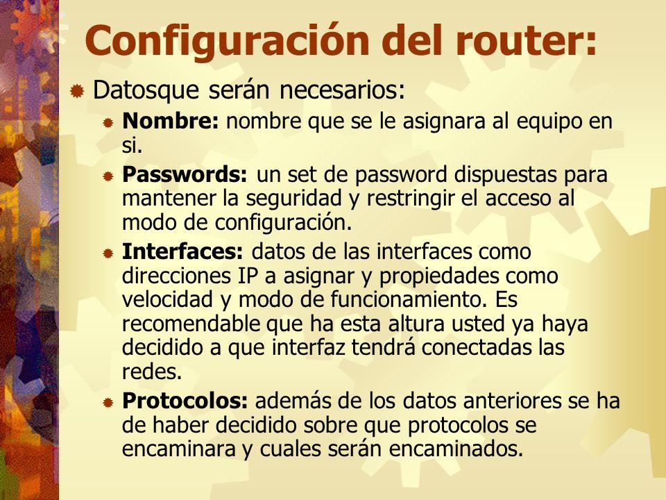 Configuración del router: