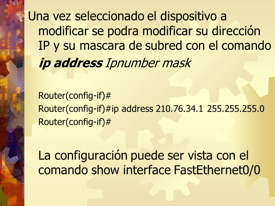 ip address Ipnumber mask