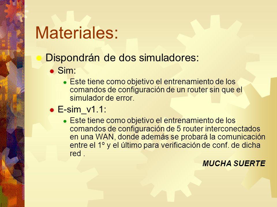 Materiales: Dispondrán de dos simuladores: Sim: E-sim_v1.1: