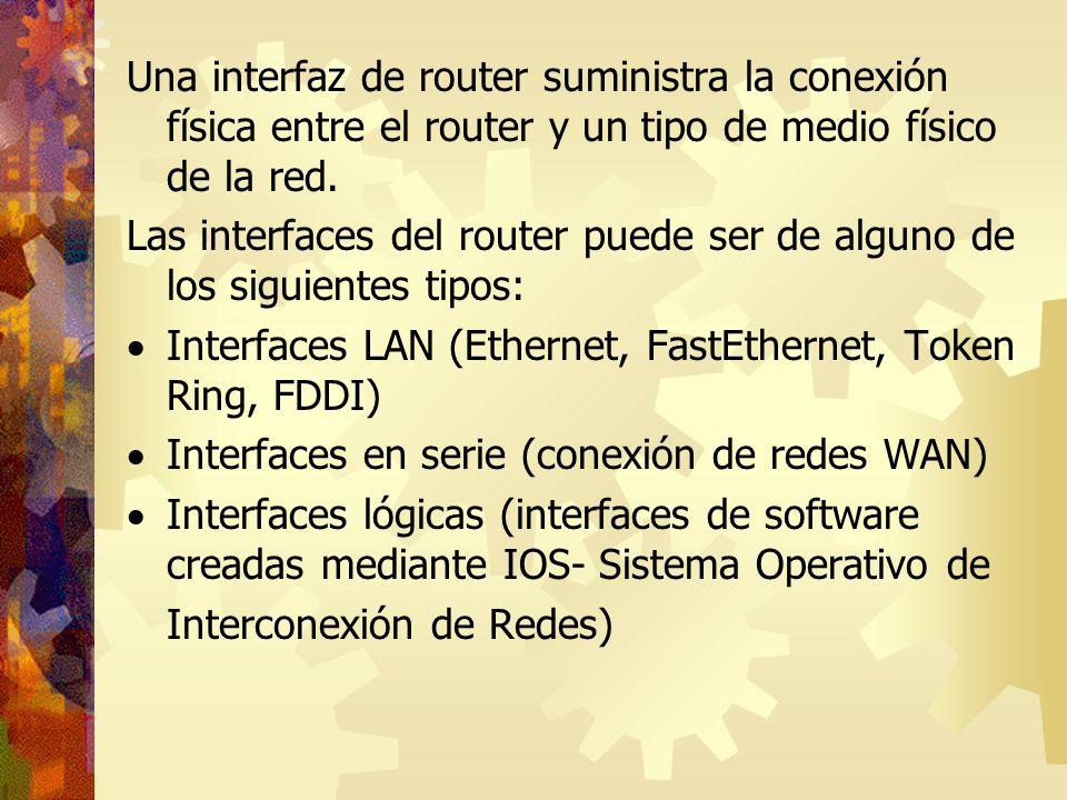 Una interfaz de router suministra la conexión física entre el router y un tipo de medio físico de la red.