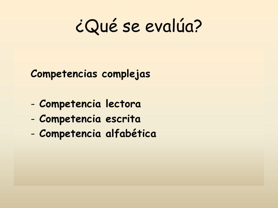 ¿Qué se evalúa Competencias complejas Competencia lectora