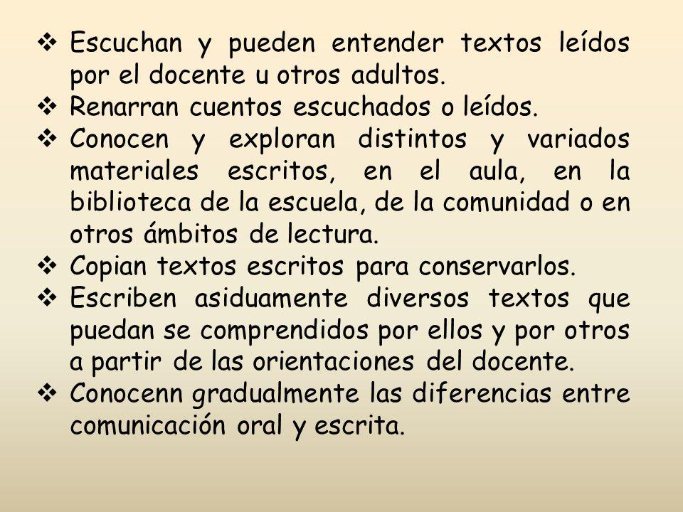 Escuchan y pueden entender textos leídos por el docente u otros adultos.