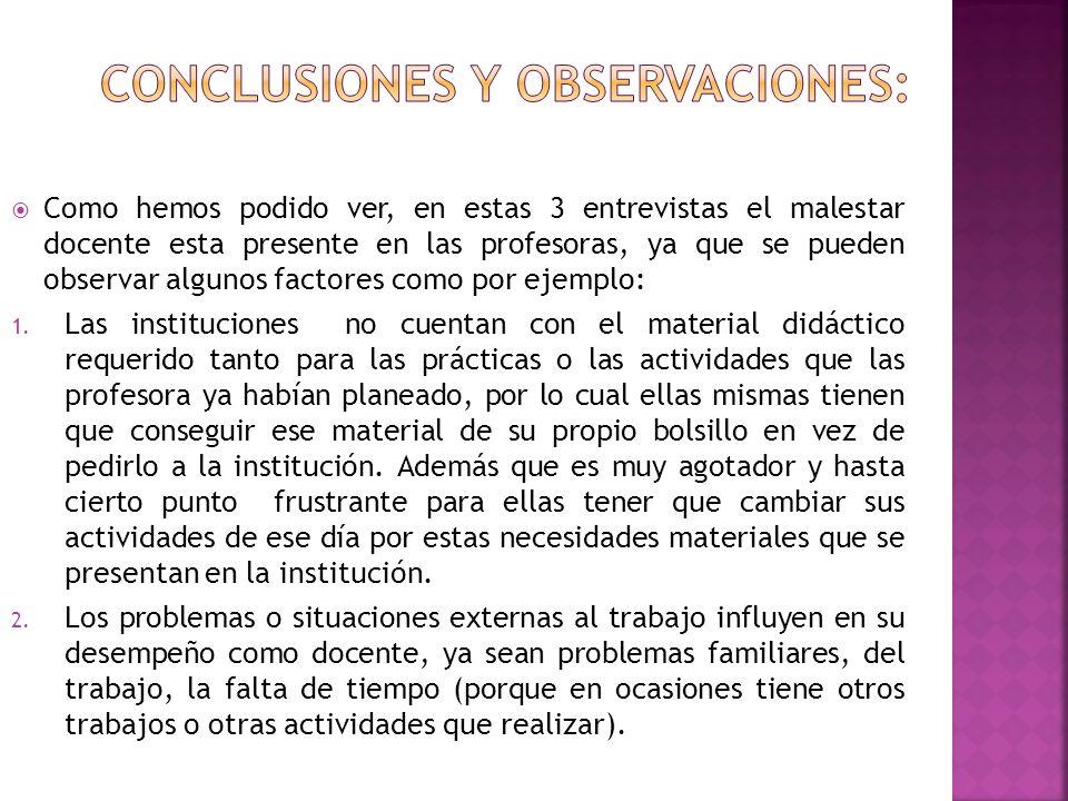 Conclusiones y observaciones: