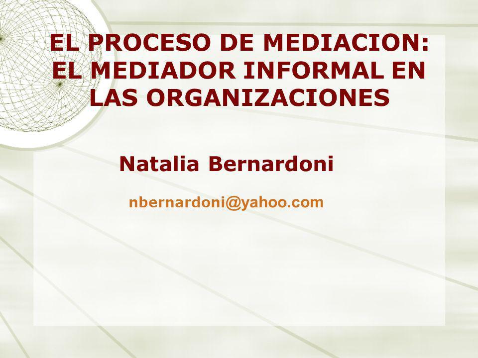 EL PROCESO DE MEDIACION: EL MEDIADOR INFORMAL EN LAS ORGANIZACIONES