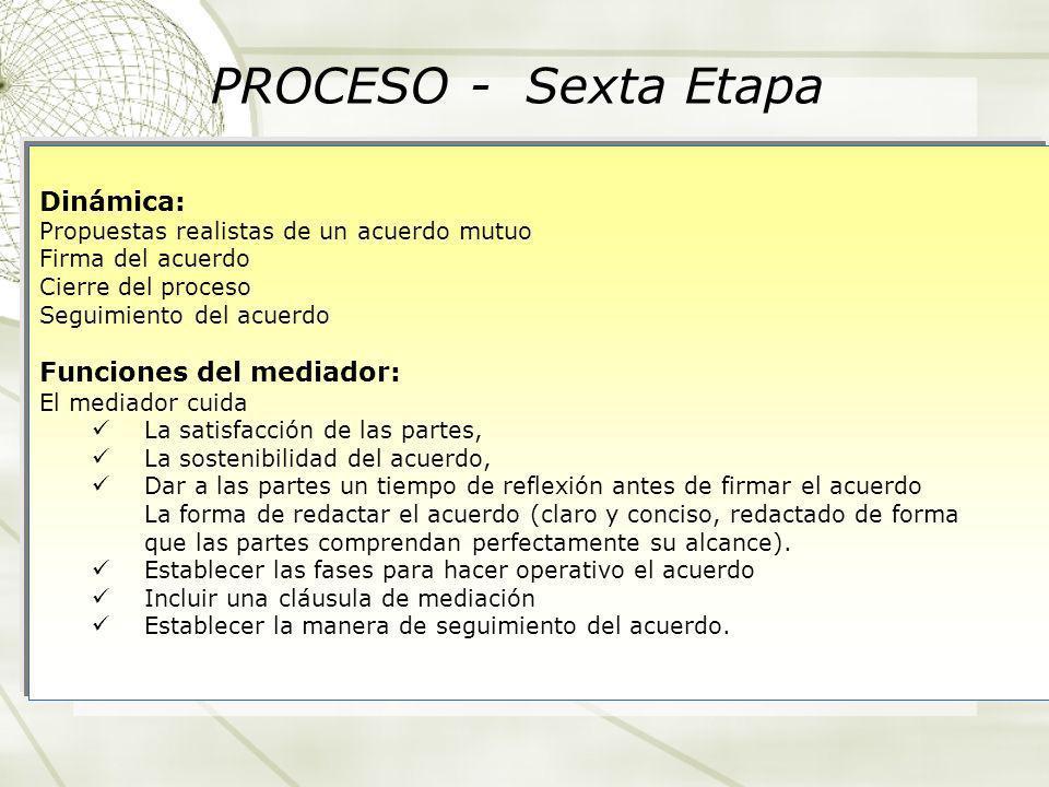 PROCESO - Sexta Etapa Dinámica: Funciones del mediador: