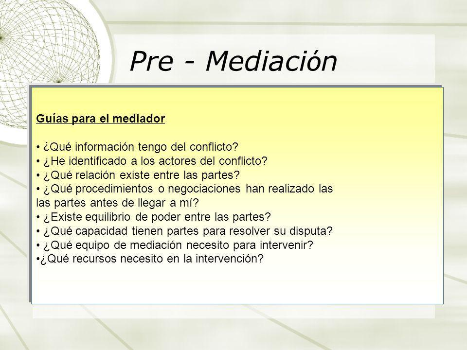 Pre - Mediación Guías para el mediador