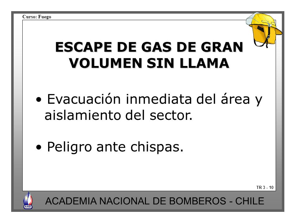 ESCAPE DE GAS DE GRAN VOLUMEN SIN LLAMA