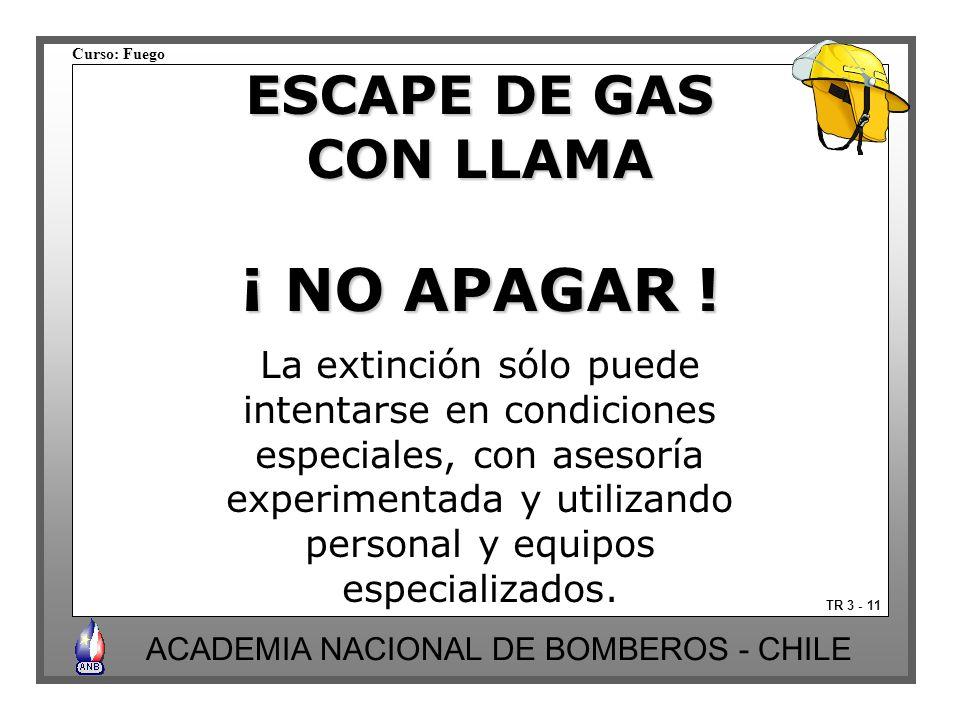¡ NO APAGAR ! ESCAPE DE GAS CON LLAMA La extinción sólo puede