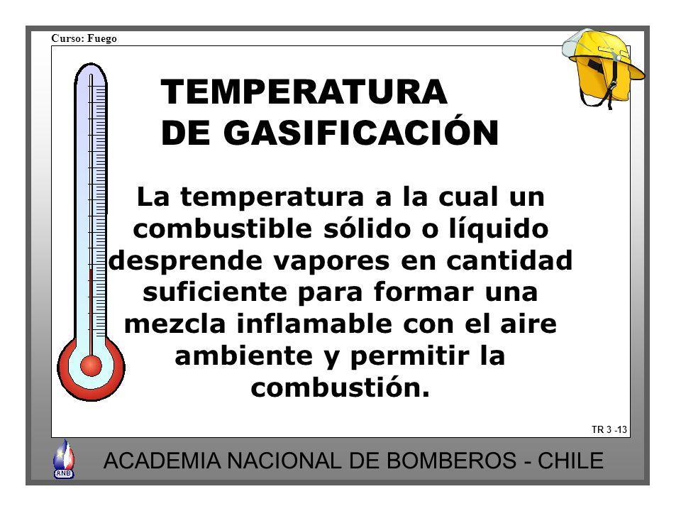 TEMPERATURA DE GASIFICACIÓN La temperatura a la cual un