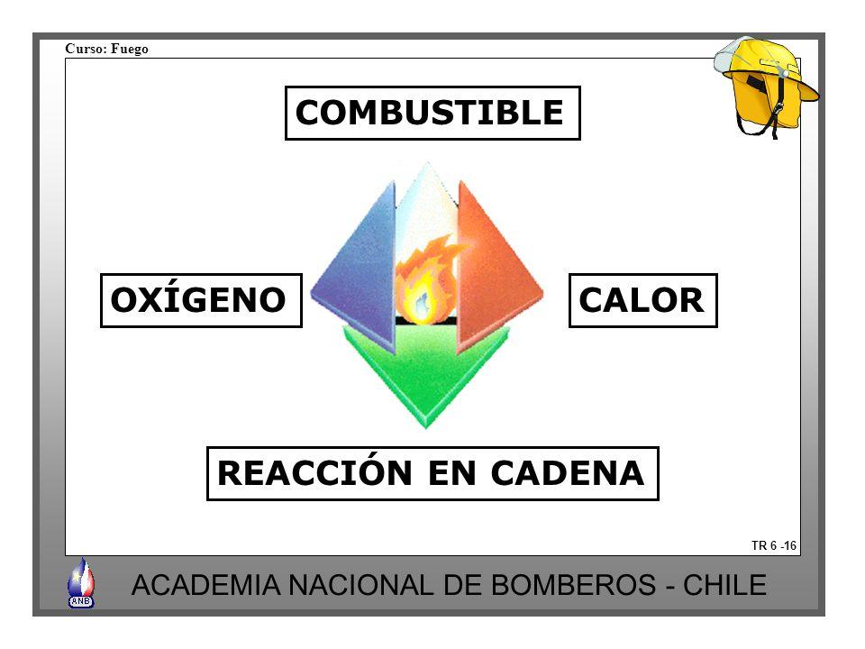 COMBUSTIBLE OXÍGENO CALOR REACCIÓN EN CADENA TR 6 -16
