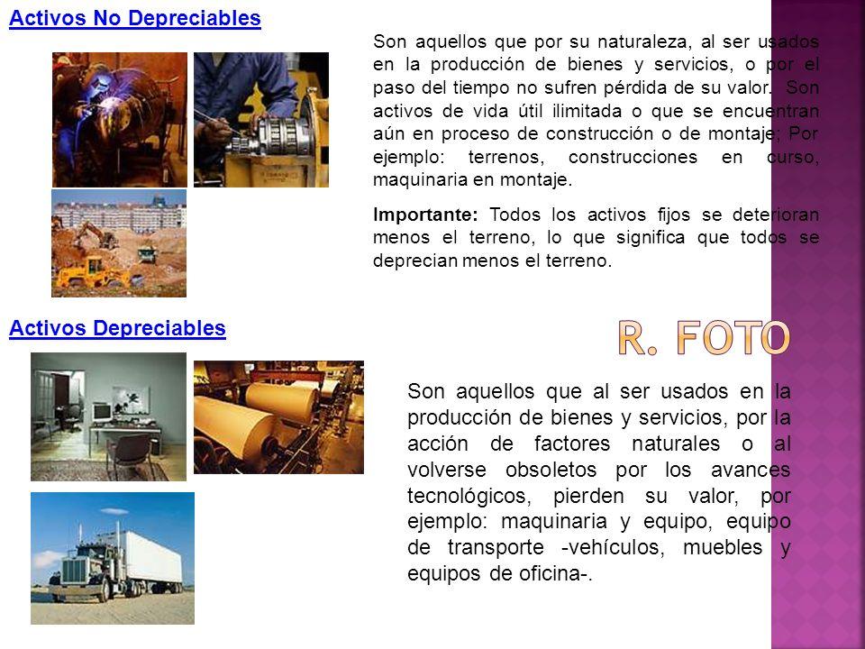 R. foto Activos No Depreciables Activos Depreciables