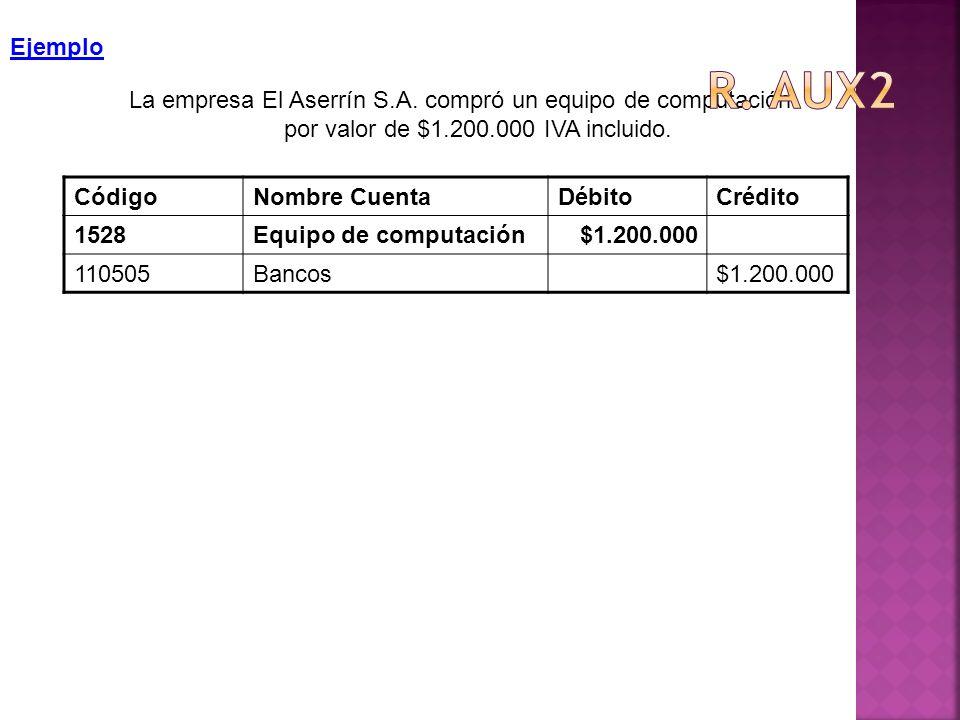 R. aux2 Ejemplo. La empresa El Aserrín S.A. compró un equipo de computación por valor de $1.200.000 IVA incluido.