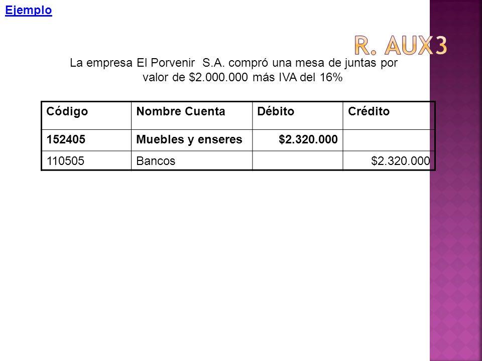 Ejemplo R. aux3. La empresa El Porvenir S.A. compró una mesa de juntas por valor de $2.000.000 más IVA del 16%