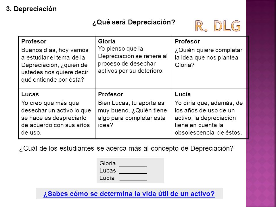 R. dlg 3. Depreciación ¿Qué será Depreciación