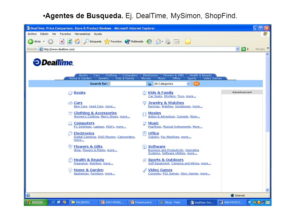 Agentes de Busqueda. Ej. DealTime, MySimon, ShopFind.