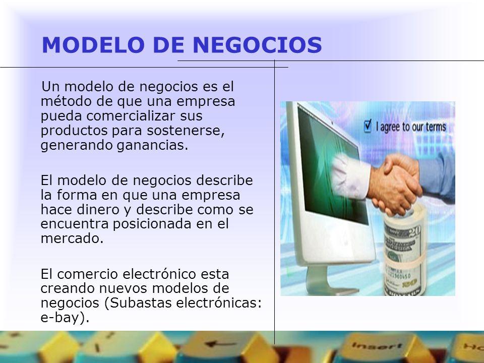 MODELO DE NEGOCIOSUn modelo de negocios es el método de que una empresa pueda comercializar sus productos para sostenerse, generando ganancias.